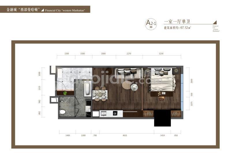 高新南区金融城新房高盛公馆新房A2户型图