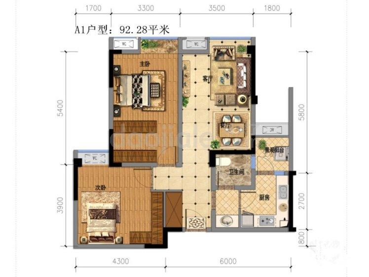 双流区双流新城区金祥广场新房A1户型户型图