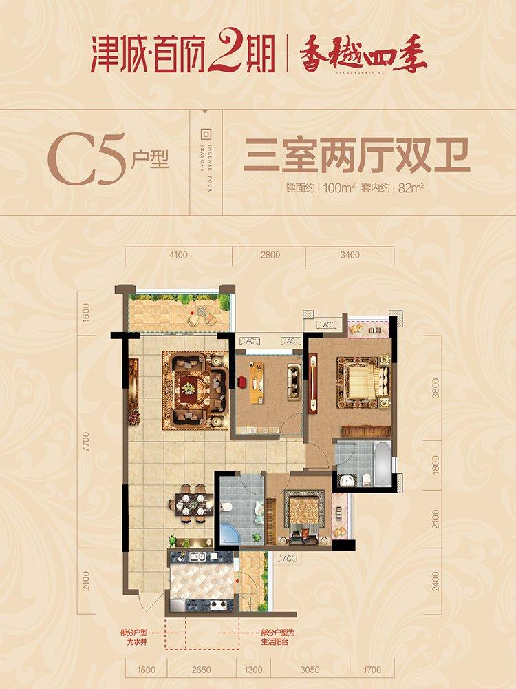 江津区双福片区津城首府新房C5户型户型图