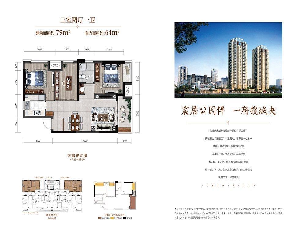 江津区双福片区迪鑫阳光天宸新房D3户型图