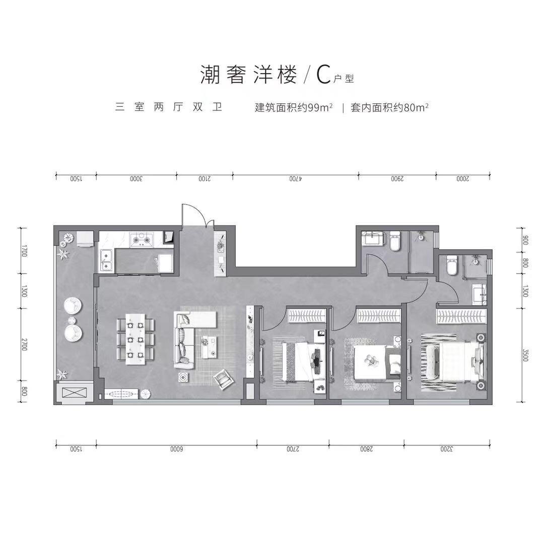 江北区大石坝保利阅江台新房E户型户型图