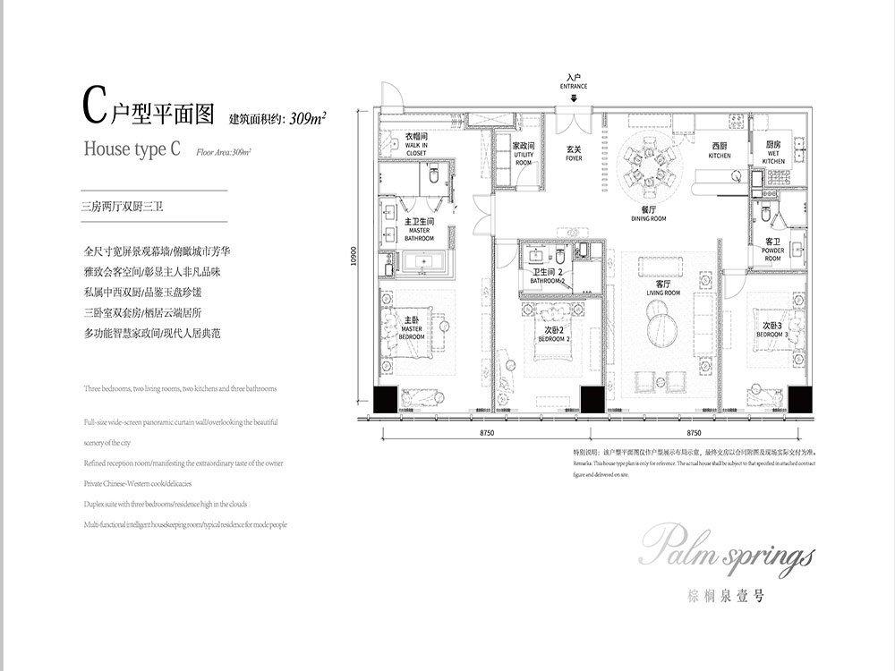 渝北区照母山棕榈泉国际中心新房C户型户型图