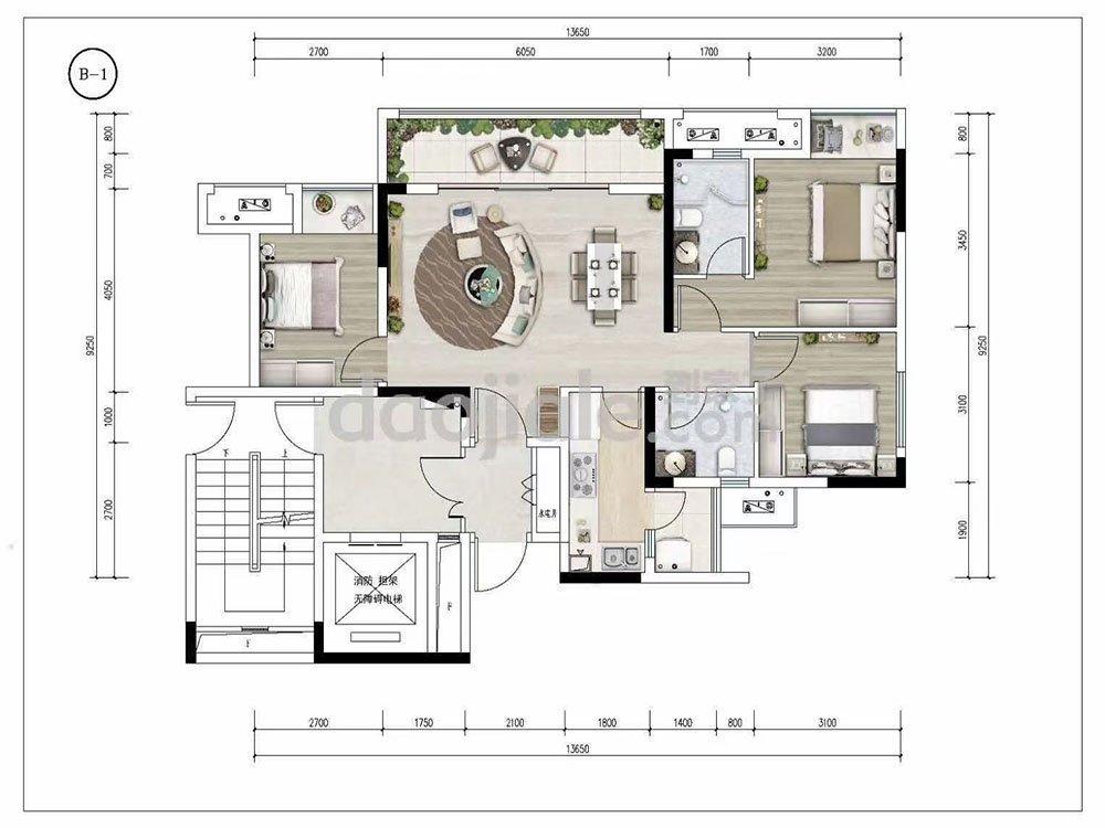 巴南区龙洲湾中建清能悦和城新房B1户型图
