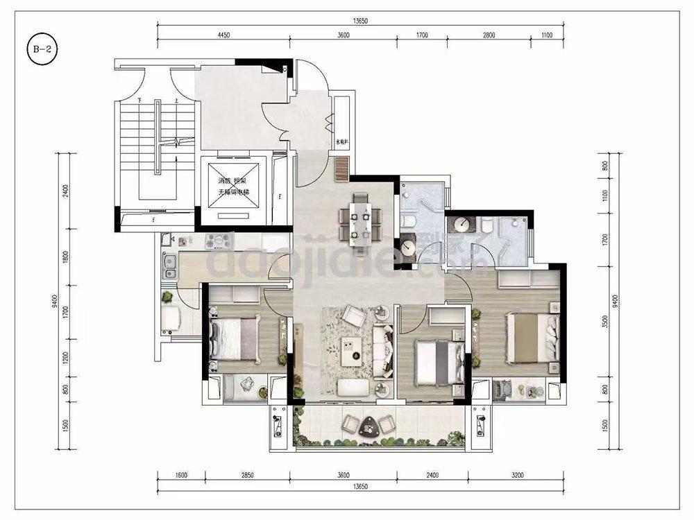 巴南区龙洲湾中建清能悦和城新房B2户型图