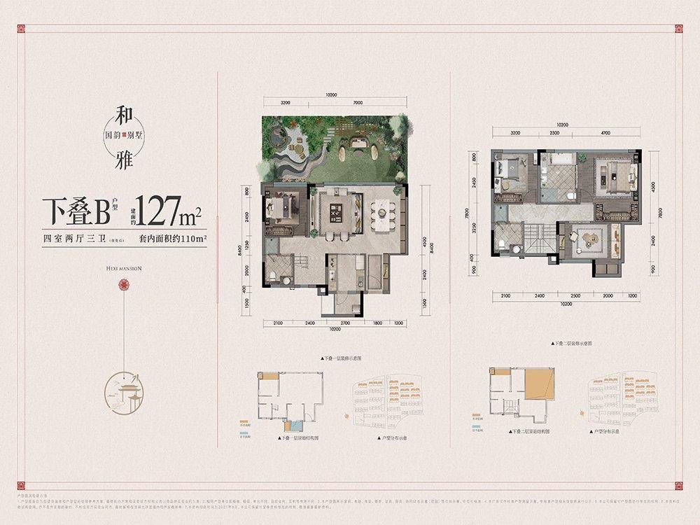 北碚区蔡家建发和玺新房下叠B户型图