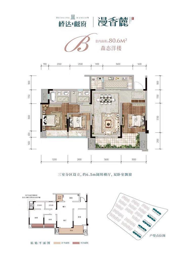 渝北区龙兴桥达天蓬樾府新房B户型户型图