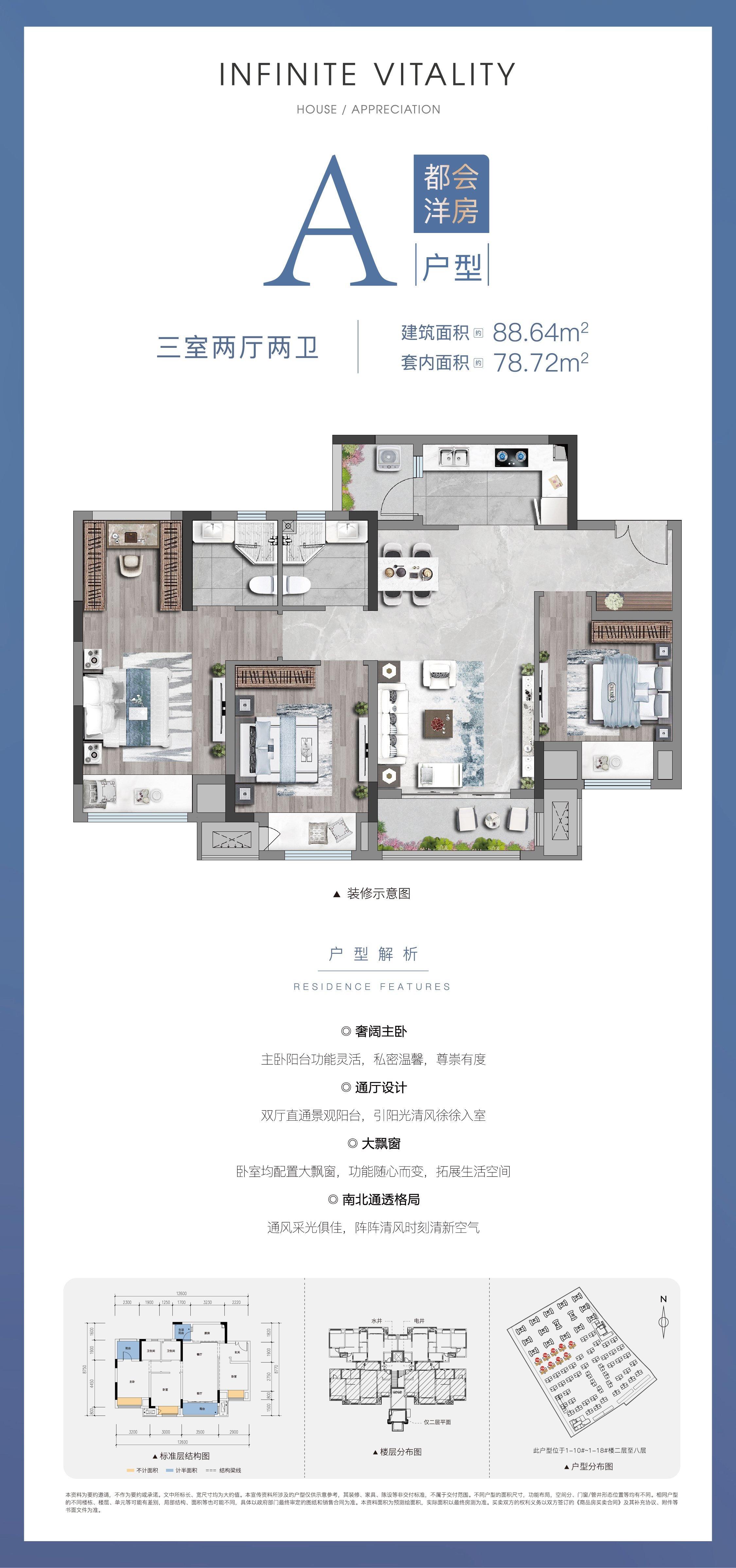 璧山区璧山街道联发黛山璟悦新房洋房A1户型户型图