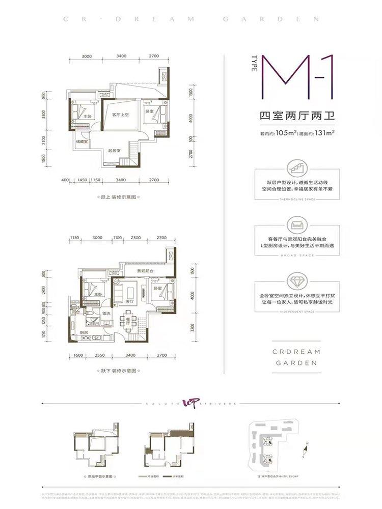 巴南区李家沱华润置地澜山望新房M-1户型(三期)户型图