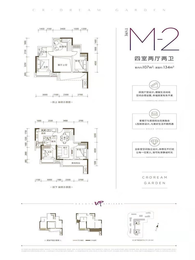 巴南区李家沱华润置地澜山望新房M-2户型(三期)户型图