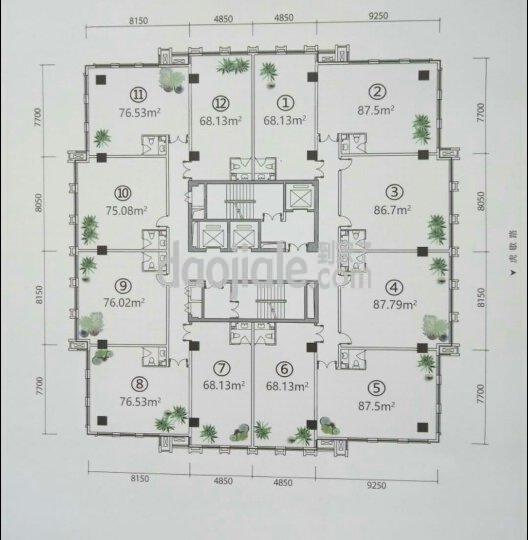 渝中区大坪升伟中环广场新房公寓户型图