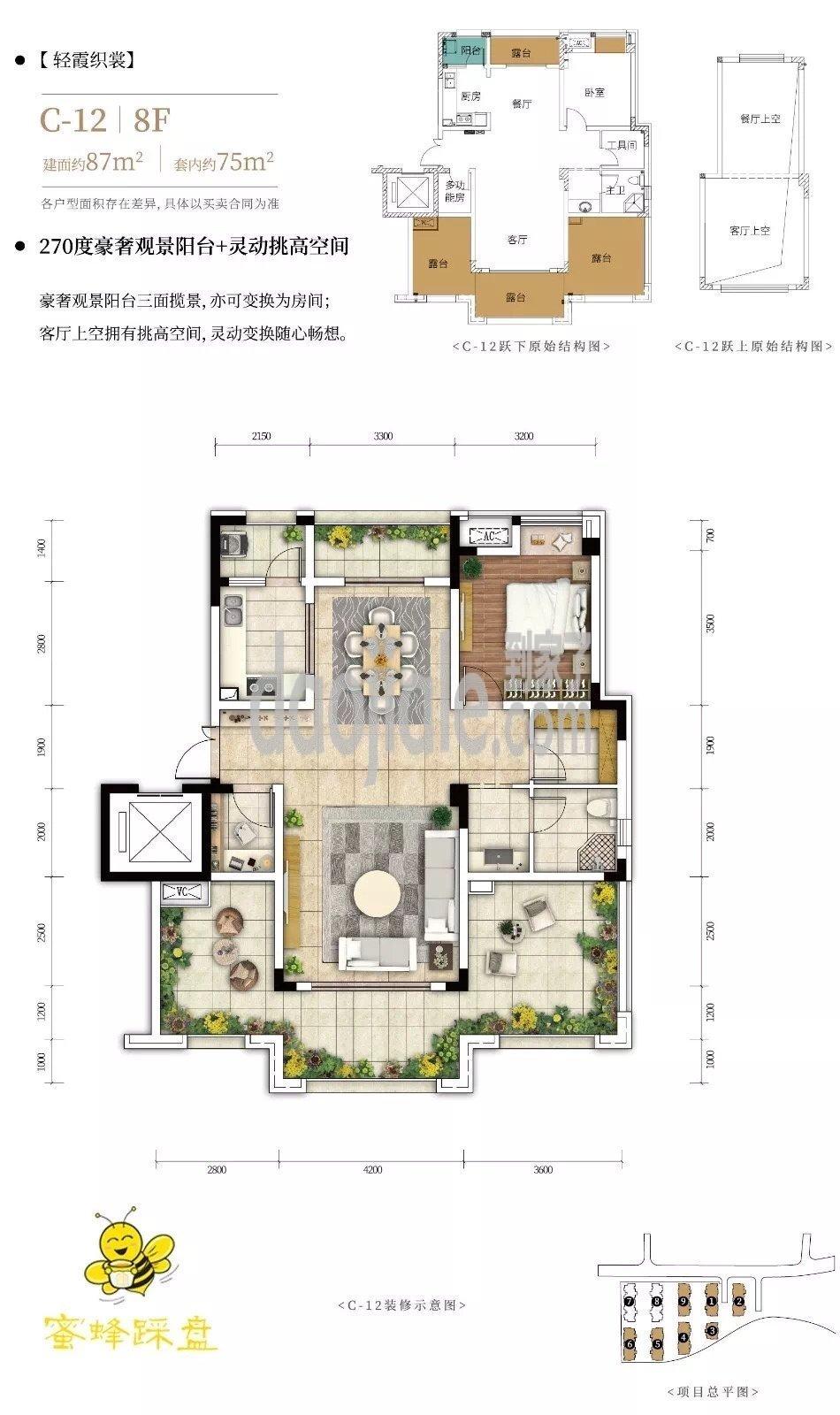 渝北区两江新区北大资源悦来新房C-12户型户型图