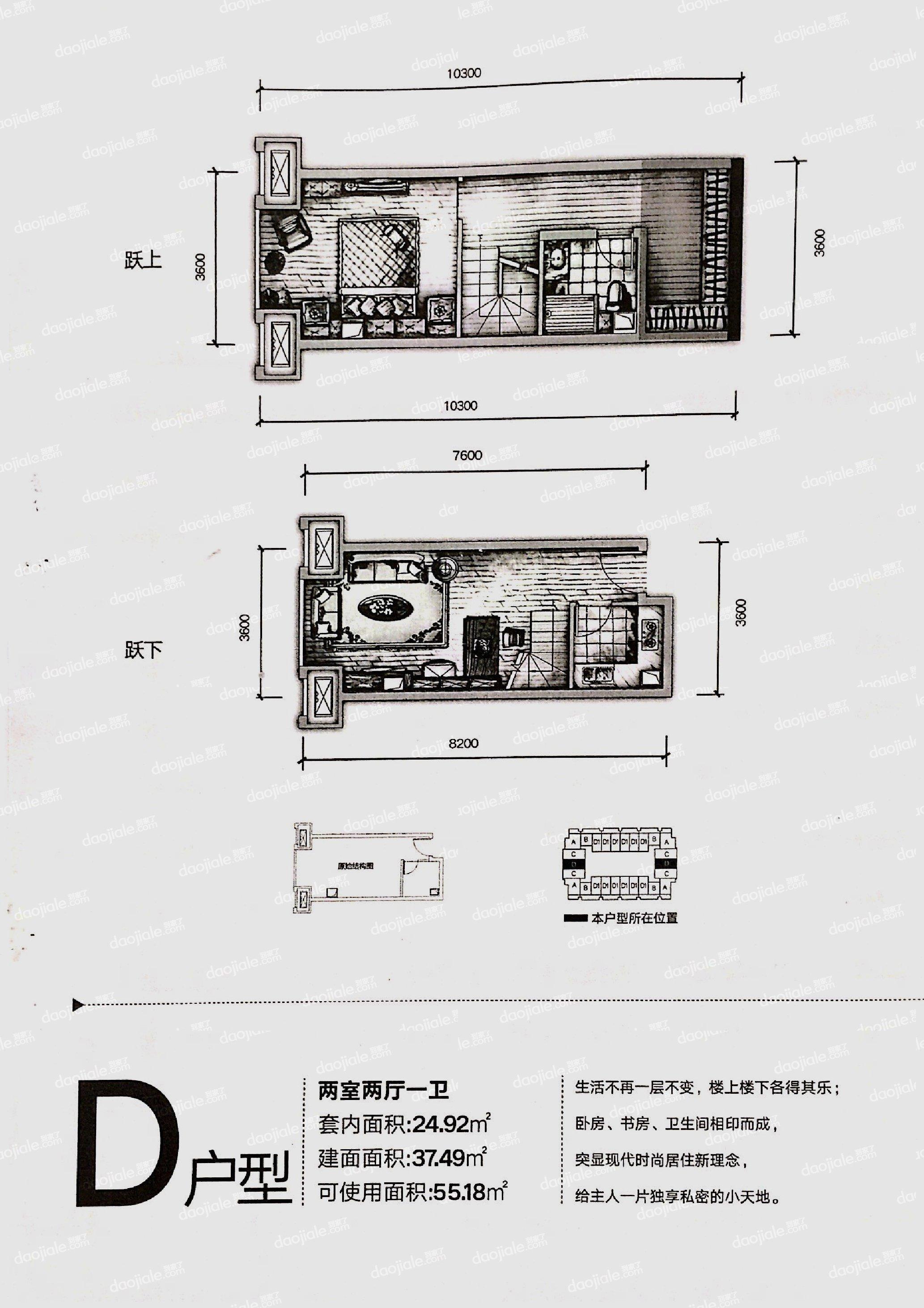 沙坪坝区双碑信达滨江蓝庭新房D户型图