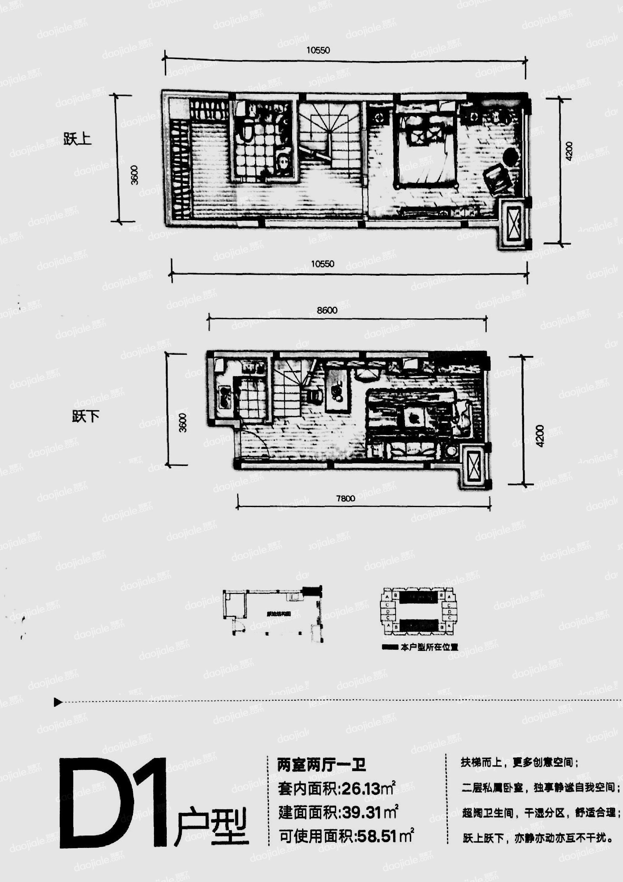 沙坪坝区双碑信达滨江蓝庭新房D1户型图