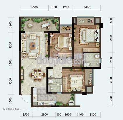 渝北区悦来北京城建龙樾生态城新房高层B户型户型图