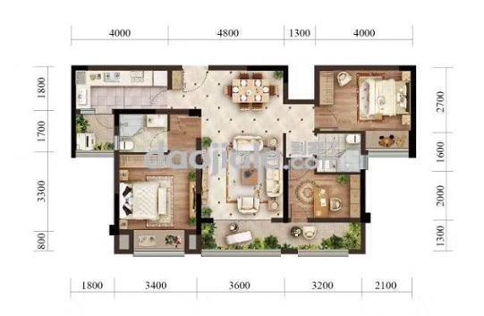 渝北区悦来北京城建龙樾生态城新房小高层F户型户型图