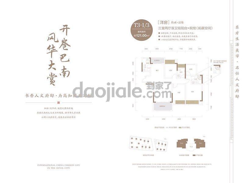巴南区龙洲湾和泓文华府新房T3-1/3户型图