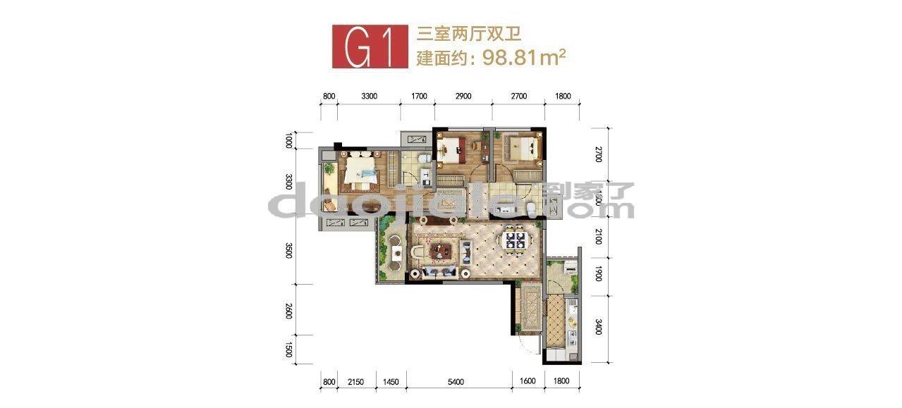 巴南区龙洲湾集美锦湾新房G1户型户型图