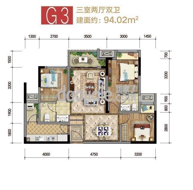 巴南区龙洲湾集美锦湾新房G3户型户型图