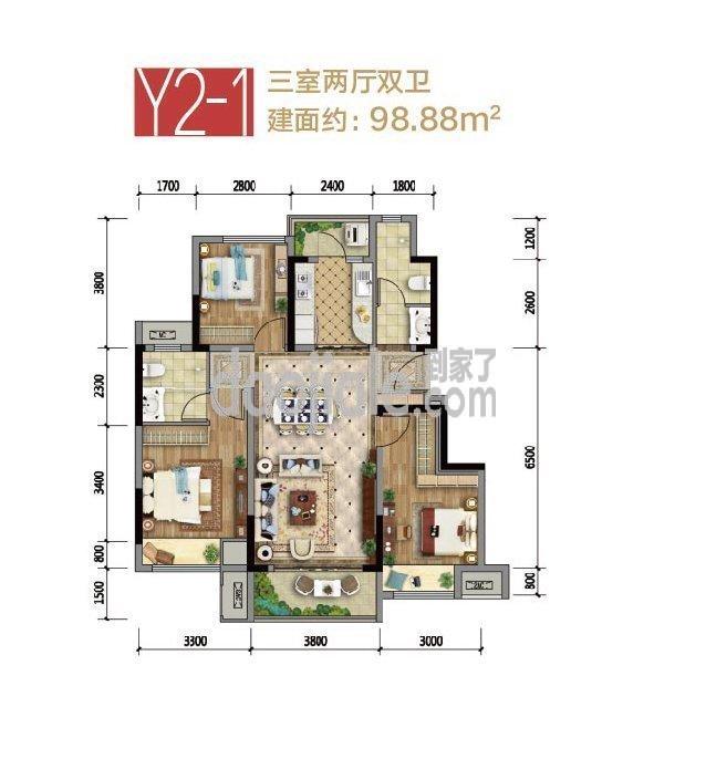 巴南区龙洲湾集美锦湾新房Y2-1户型户型图