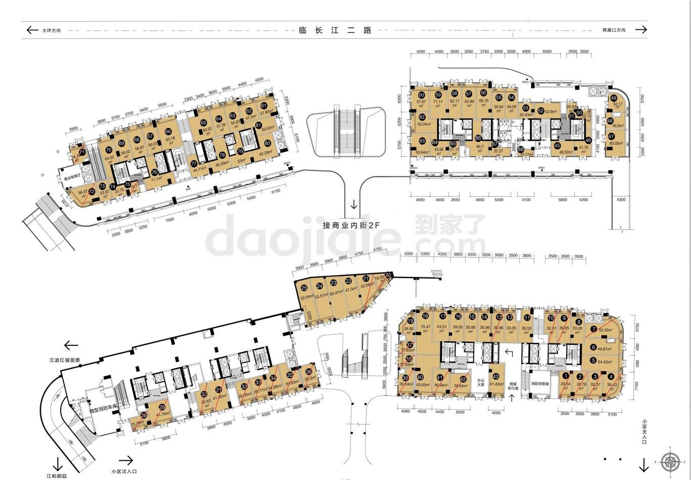 渝中区大坪和泓渝中界新房商铺户型图