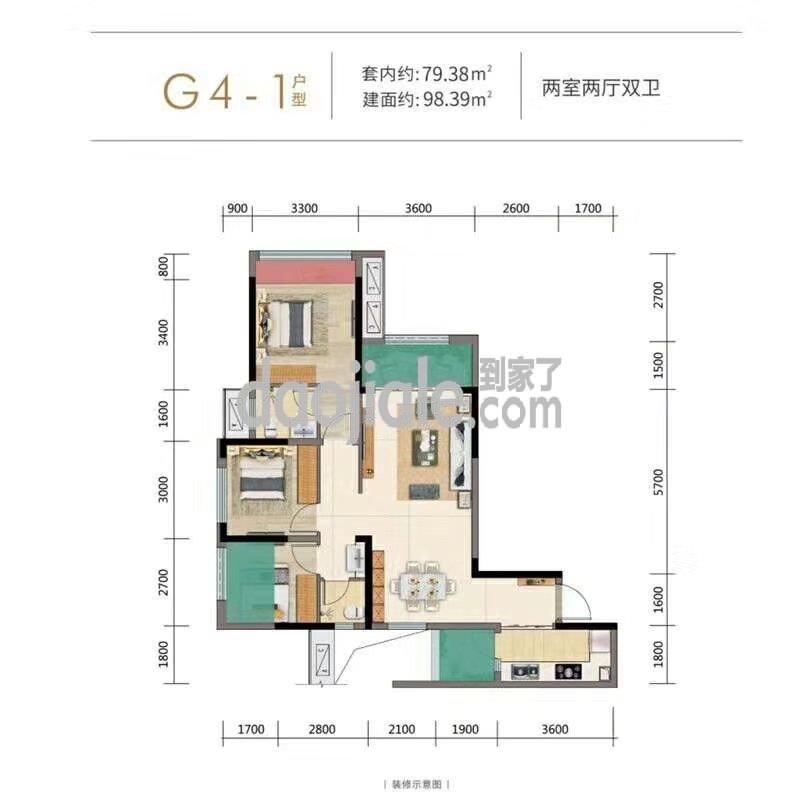 南岸区茶园新区金科博翠园新房G4-1户型户型图