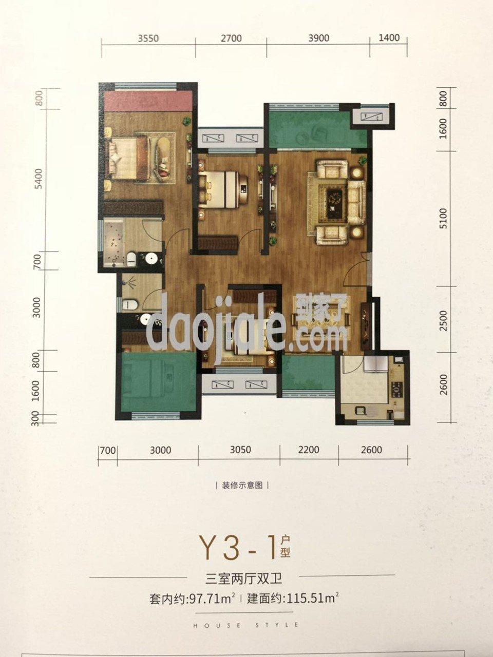 南岸区茶园新区金科博翠园新房Y3-1户型户型图