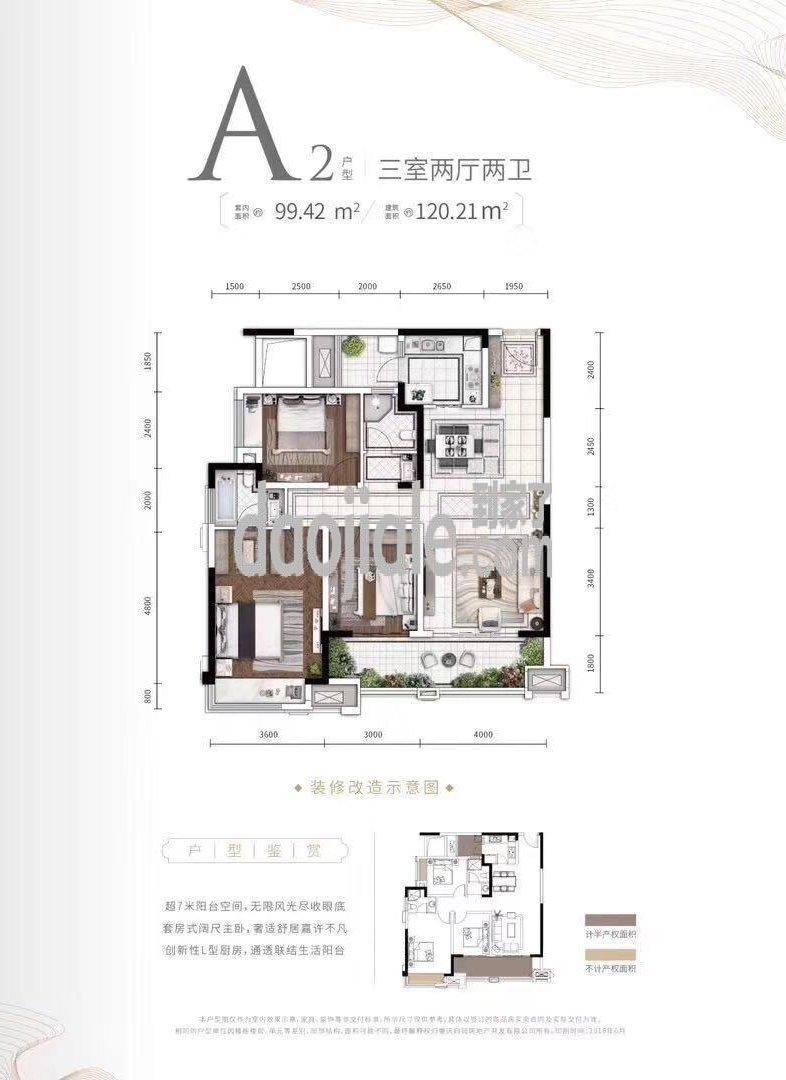 巴南区龙洲湾洺悦城新房A3户型户型图