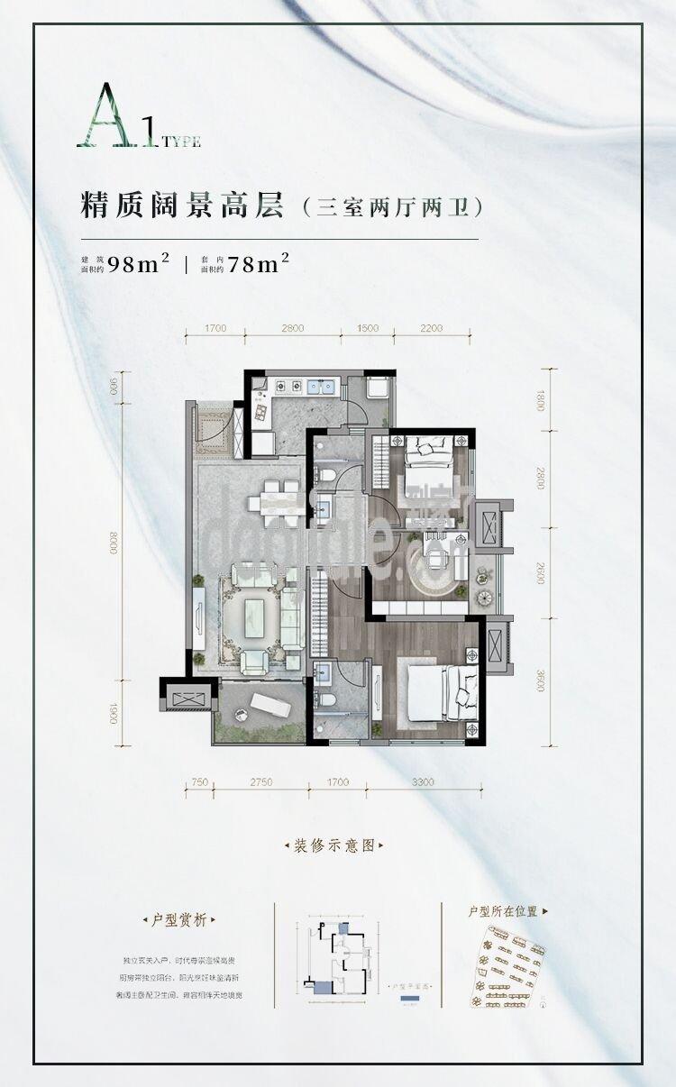 南岸区茶园新区璟樾云山新房A1户型户型图
