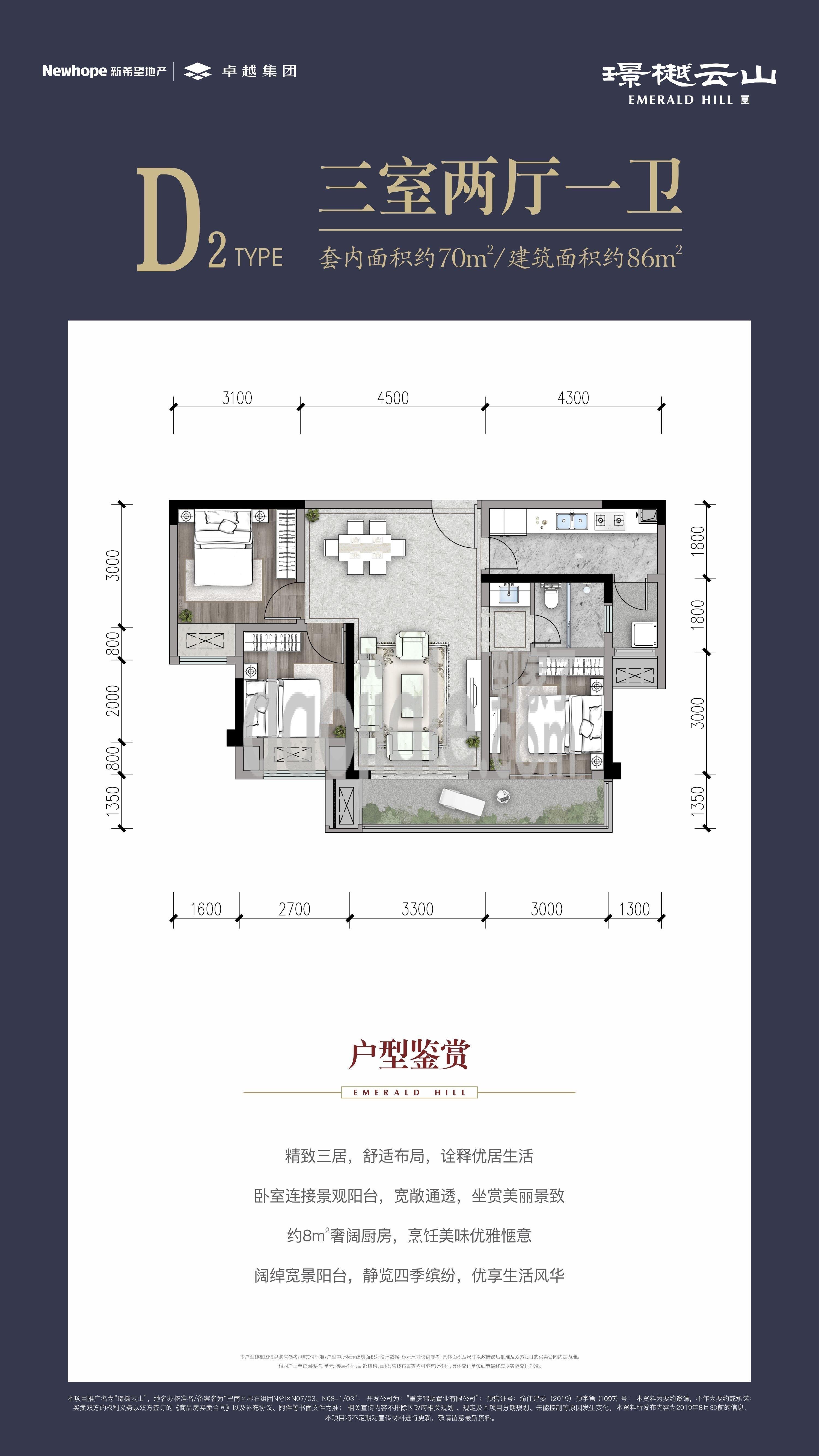 南岸区茶园新区璟樾云山新房D2户型图
