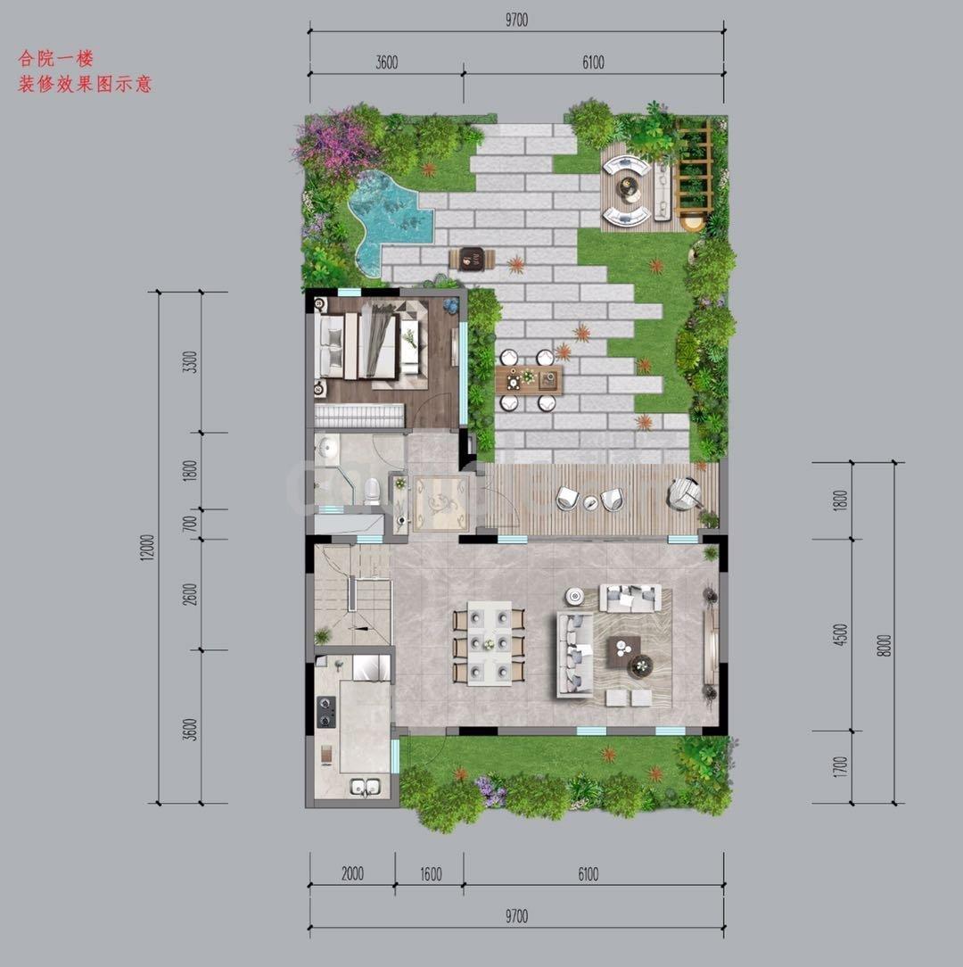沙坪坝区西永朗基水印三生新房合院一楼户型图