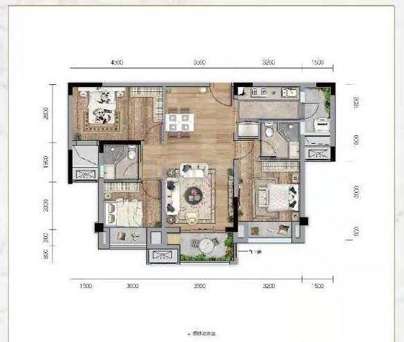 渝北区两路空港美的中骏云璟新房C2户型户型图