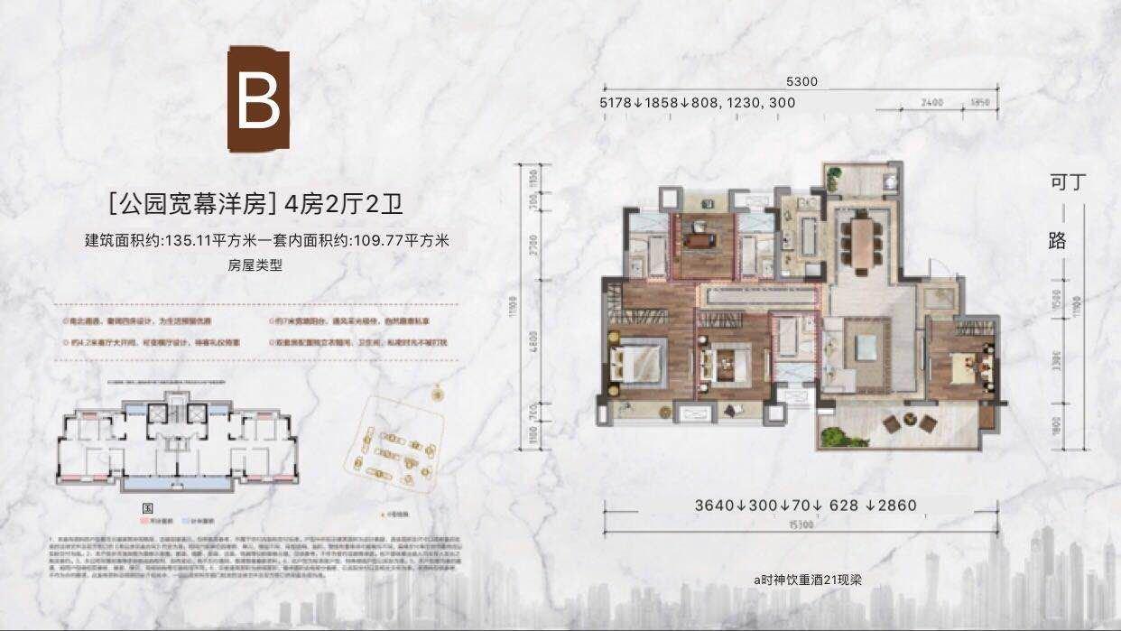 渝北区两路空港美的中骏云璟新房B户型户型图