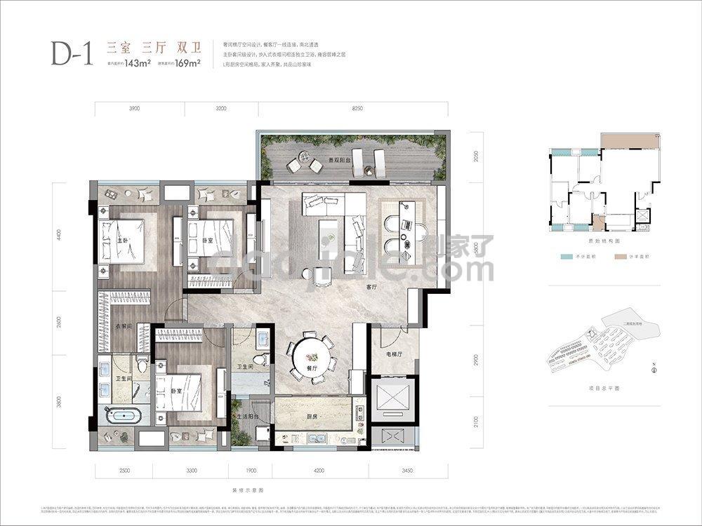 渝北区礼嘉金融街嘉粼融府新房D1户型图