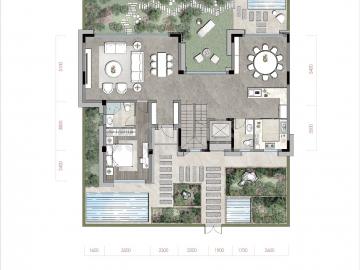 渝北区礼嘉金融街嘉粼融府新房合院一层户型图