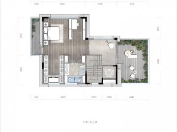 渝北区礼嘉金融街嘉粼融府新房合院三层户型图