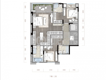 渝北区礼嘉金融街嘉粼融府新房下叠二层户型图