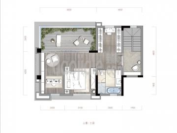渝北区礼嘉金融街嘉粼融府新房上叠三层户型图