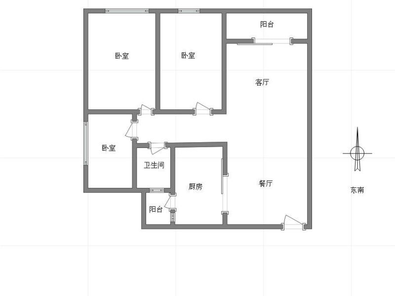 弹子石 长嘉汇一期三房1800元/月租房户型图