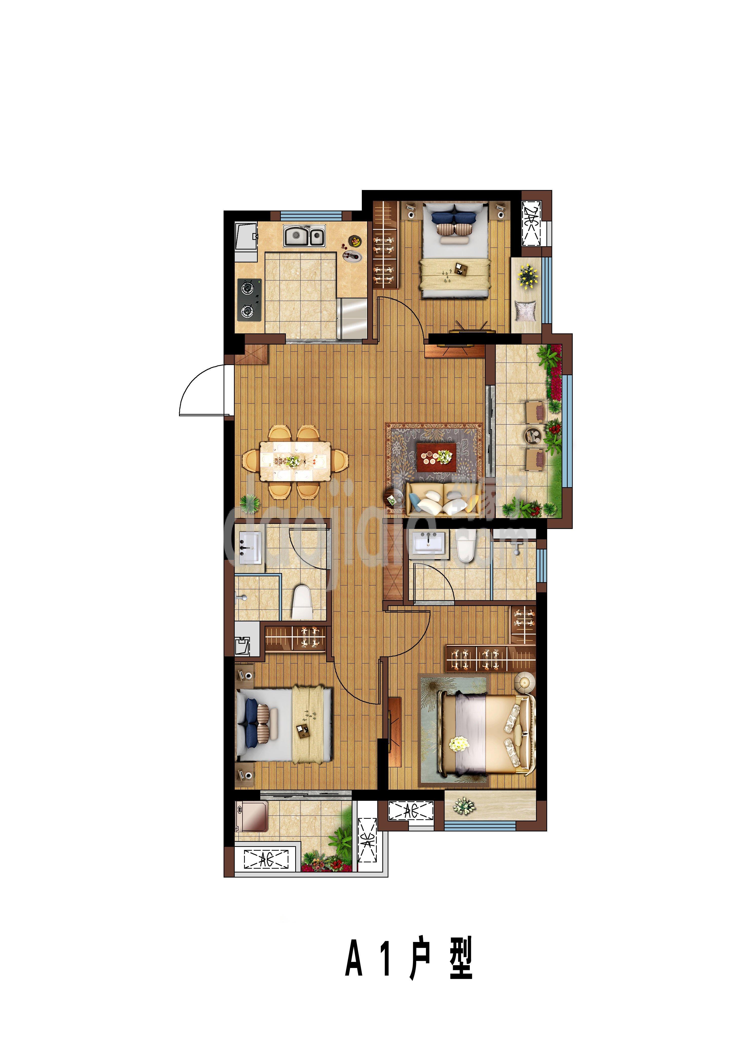 晋安区五四北天空之城新房A1户型户型图